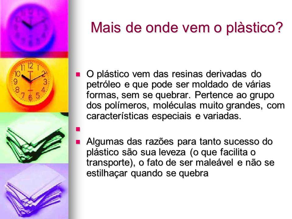 Mais de onde vem o plàstico? O plástico vem das resinas derivadas do petróleo e que pode ser moldado de várias formas, sem se quebrar. Pertence ao gru