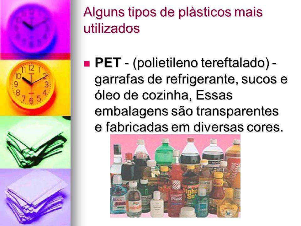 Alguns tipos de plàsticos mais utilizados PET - (polietileno tereftalado) - garrafas de refrigerante, sucos e óleo de cozinha, Essas embalagens são tr