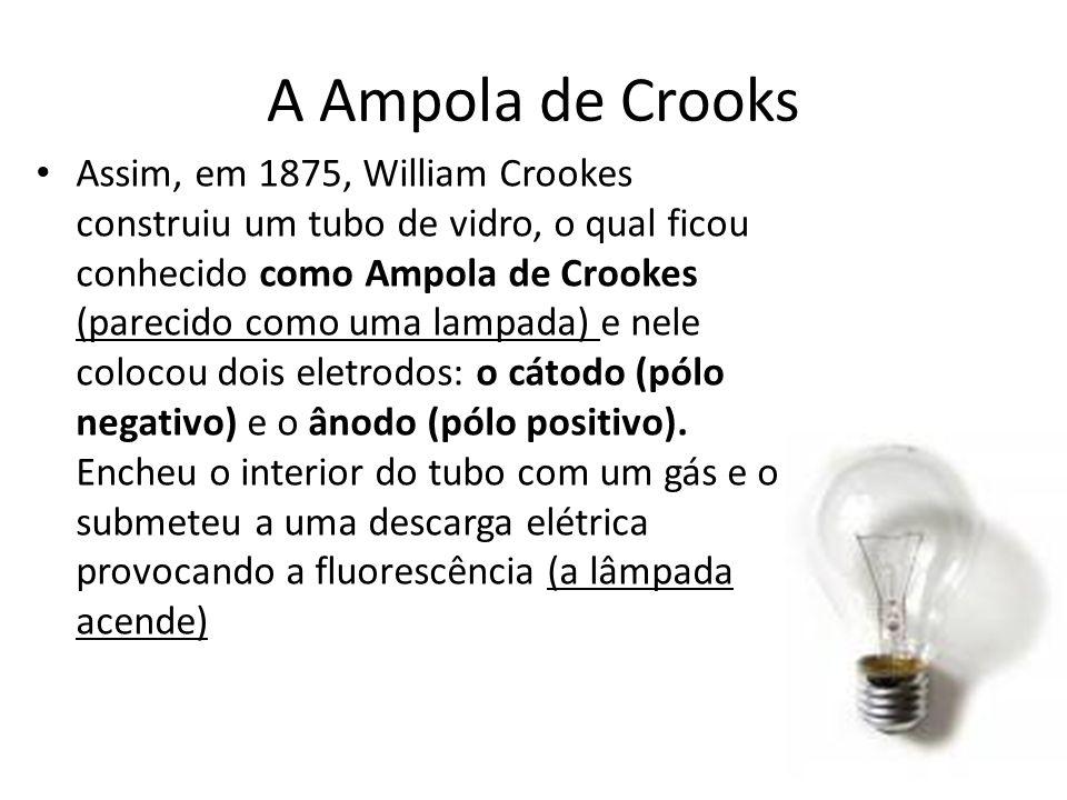 A Ampola de Crooks Assim, em 1875, William Crookes construiu um tubo de vidro, o qual ficou conhecido como Ampola de Crookes (parecido como uma lampad