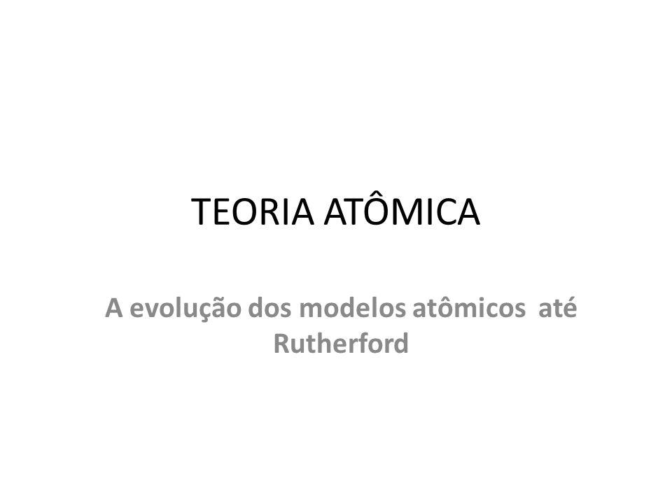 TEORIA ATÔMICA A evolução dos modelos atômicos até Rutherford