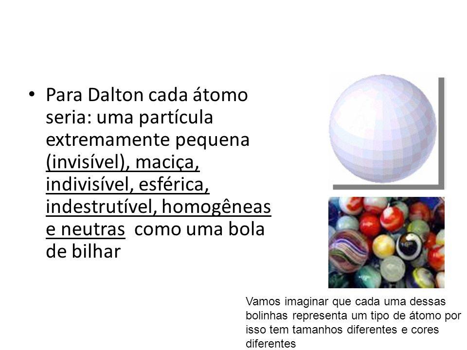 Para Dalton cada átomo seria: uma partícula extremamente pequena (invisível), maciça, indivisível, esférica, indestrutível, homogêneas e neutras como