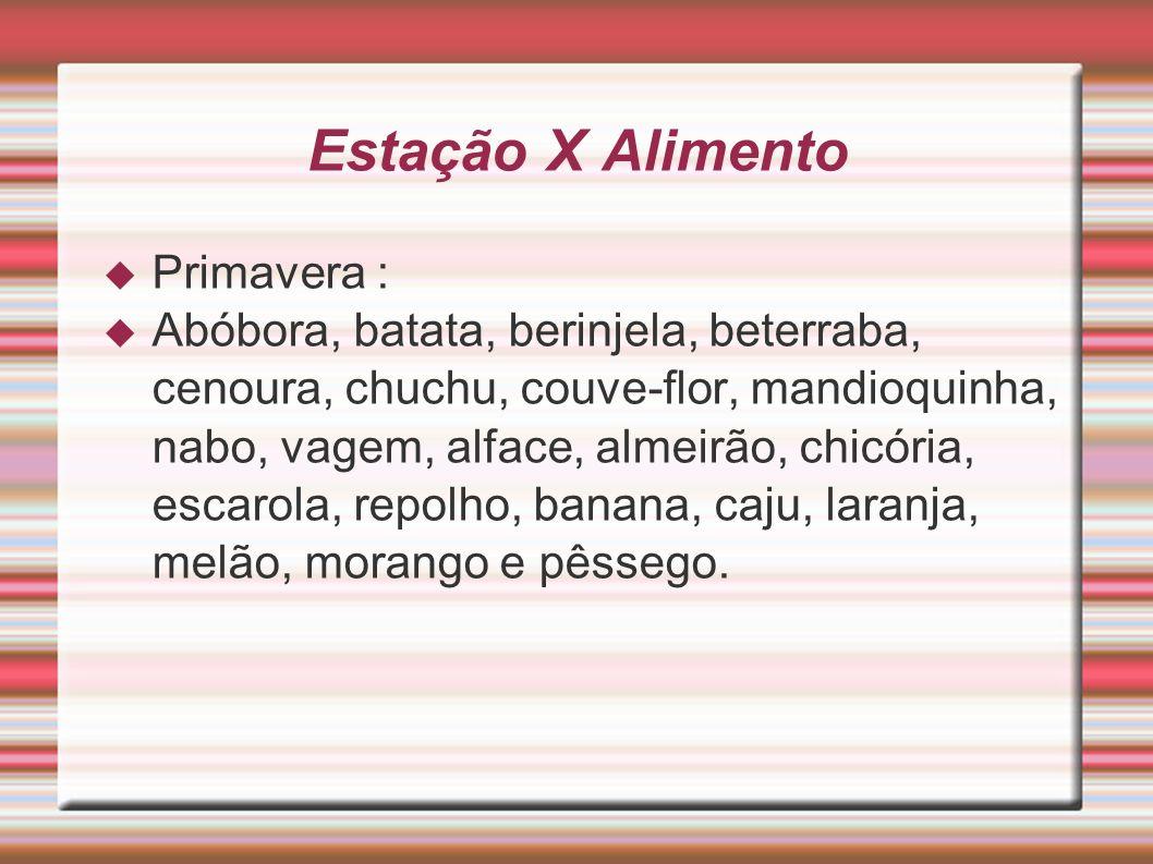 Estação X Alimento Primavera : Abóbora, batata, berinjela, beterraba, cenoura, chuchu, couve-flor, mandioquinha, nabo, vagem, alface, almeirão, chicór