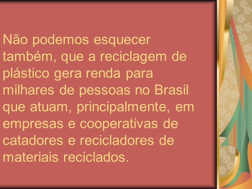 Não podemos esquecer também, que a reciclagem de plástico gera renda para milhares de pessoas no Brasil que atuam, principalmente, em empresas e coope