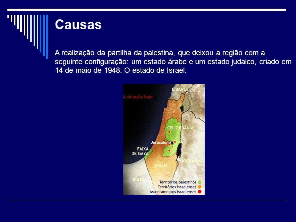 Consequências Inconformados com a decisão da ONU, os palestinos declararam guerra aos israelenses, com a intenção de expulsá-los das terras que faziam parte do novo Estado de Israel tornando uma situação insustentável.