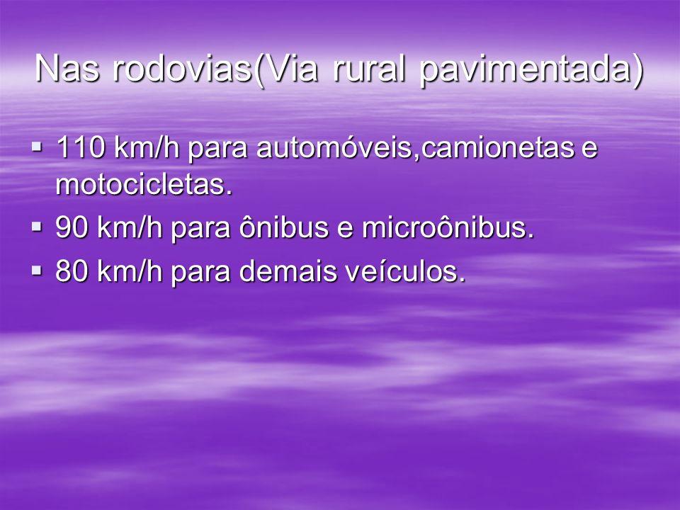 Nas rodovias(Via rural pavimentada) 110 km/h para automóveis,camionetas e motocicletas. 90 km/h para ônibus e microônibus. 80 km/h para demais veículo