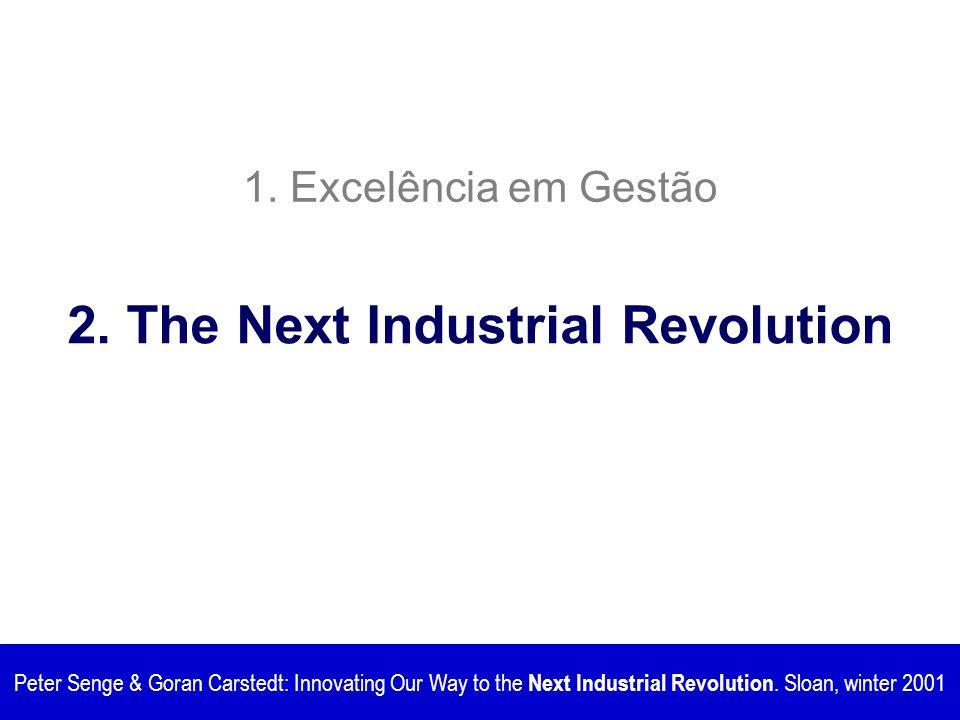 1. Excelência em Gestão Peter Senge & Goran Carstedt: Innovating Our Way to the Next Industrial Revolution. Sloan, winter 2001 2. The Next Industrial