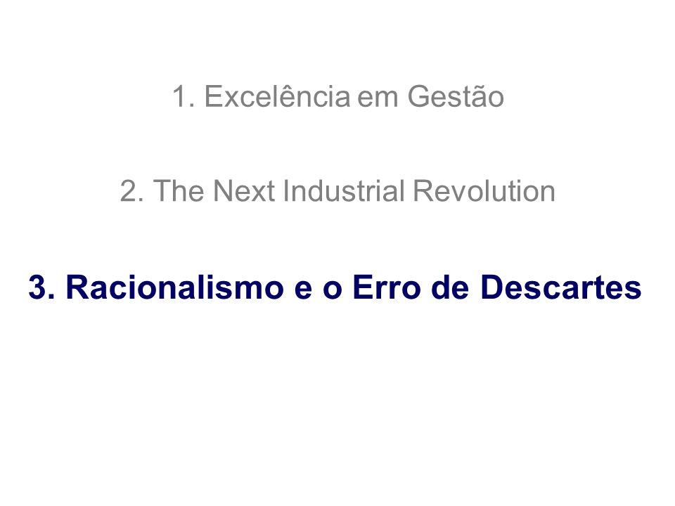 1. Excelência em Gestão 2. The Next Industrial Revolution 3. Racionalismo e o Erro de Descartes