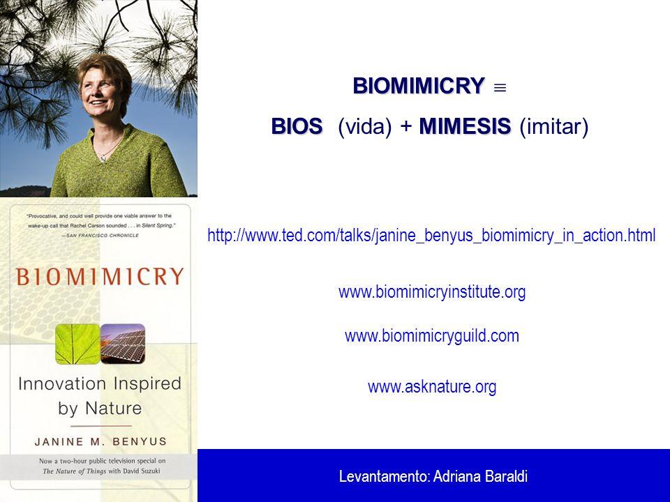 BIOMIMICRY BIOMIMICRY BIOSMIMESIS BIOS (vida) + MIMESIS (imitar) http://www.ted.com/talks/janine_benyus_biomimicry_in_action.html www.biomimicryinstit