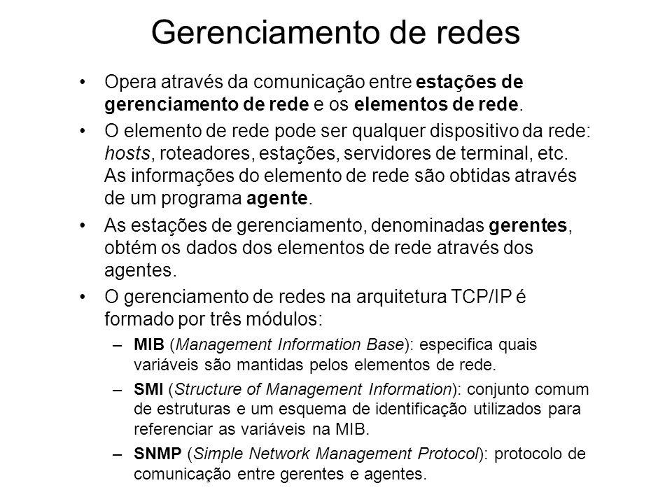 Gerenciamento de redes Opera através da comunicação entre estações de gerenciamento de rede e os elementos de rede. O elemento de rede pode ser qualqu
