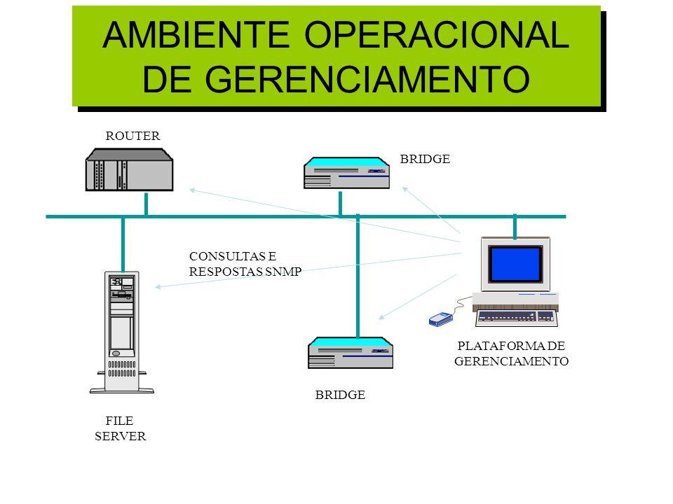AMBIENTE OPERACIONAL DE GERENCIAMENTO CONSULTAS E RESPOSTAS SNMP BRIDGE ROUTER FILE SERVER PLATAFORMA DE GERENCIAMENTO
