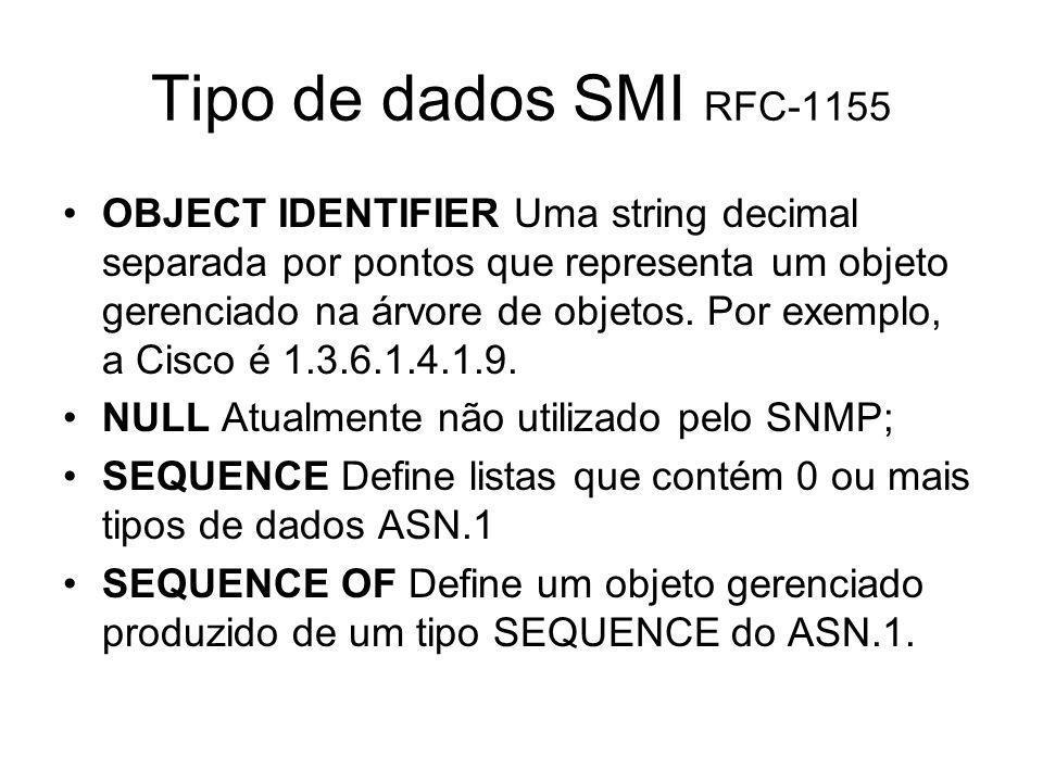 Tipo de dados SMI RFC-1155 OBJECT IDENTIFIER Uma string decimal separada por pontos que representa um objeto gerenciado na árvore de objetos. Por exem