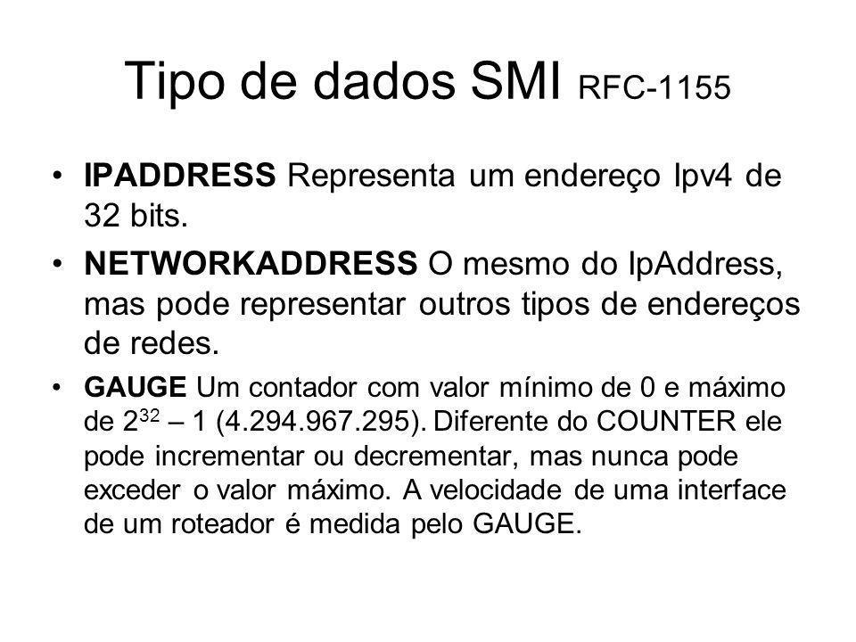Tipo de dados SMI RFC-1155 IPADDRESS Representa um endereço Ipv4 de 32 bits. NETWORKADDRESS O mesmo do IpAddress, mas pode representar outros tipos de