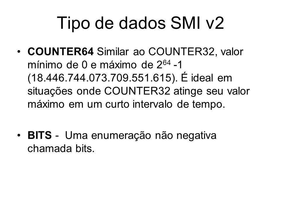 Tipo de dados SMI v2 COUNTER64 Similar ao COUNTER32, valor mínimo de 0 e máximo de 2 64 -1 (18.446.744.073.709.551.615). É ideal em situações onde COU