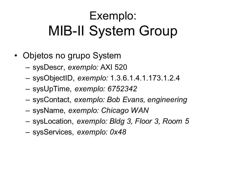 Exemplo: MIB-II System Group Objetos no grupo System –sysDescr, exemplo: AXI 520 –sysObjectID, exemplo: 1.3.6.1.4.1.173.1.2.4 –sysUpTime, exemplo: 675