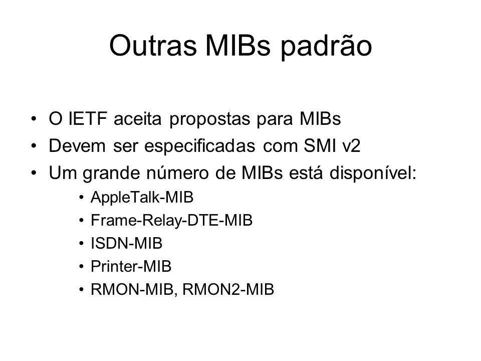 Outras MIBs padrão O IETF aceita propostas para MIBs Devem ser especificadas com SMI v2 Um grande número de MIBs está disponível: AppleTalk-MIB Frame-