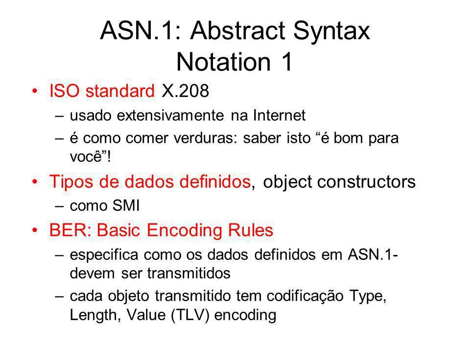 ASN.1: Abstract Syntax Notation 1 ISO standard X.208 –usado extensivamente na Internet –é como comer verduras: saber isto é bom para você! Tipos de da