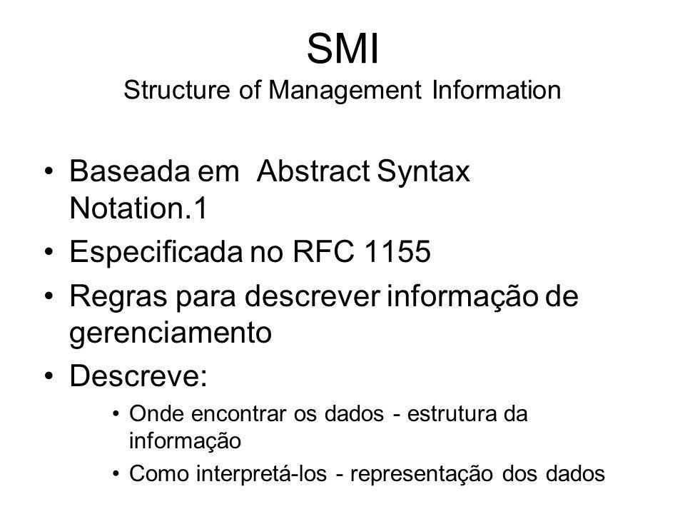 SMI Structure of Management Information Baseada em Abstract Syntax Notation.1 Especificada no RFC 1155 Regras para descrever informação de gerenciamen
