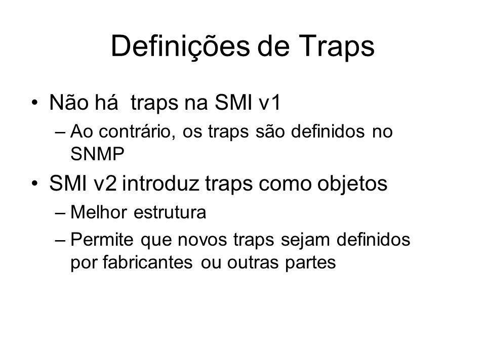Definições de Traps Não há traps na SMI v1 –Ao contrário, os traps são definidos no SNMP SMI v2 introduz traps como objetos –Melhor estrutura –Permite