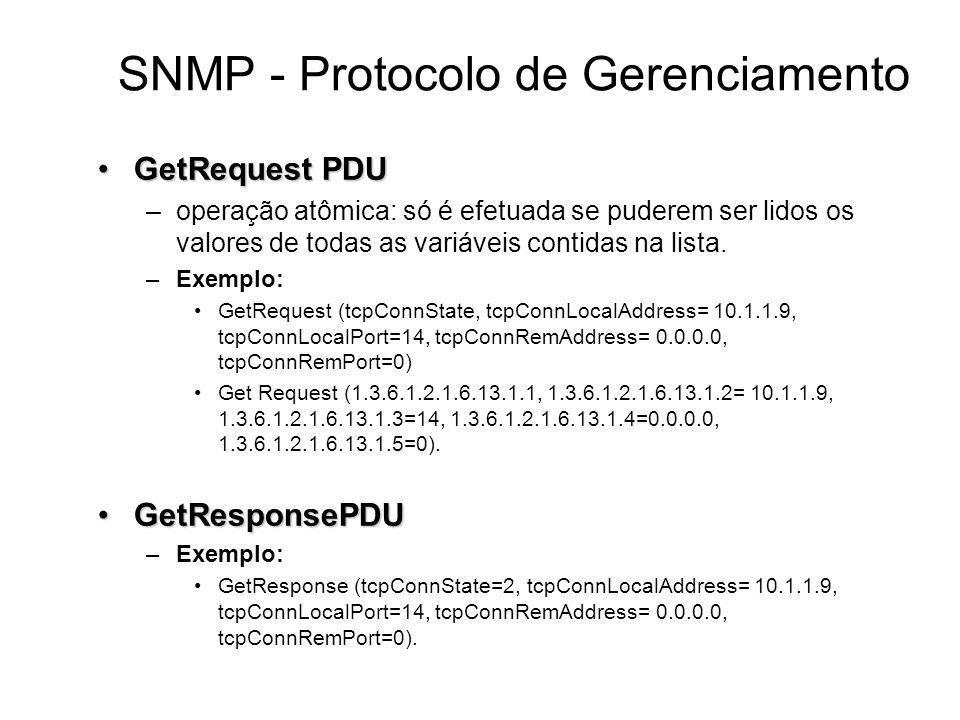 GetRequest PDUGetRequest PDU –operação atômica: só é efetuada se puderem ser lidos os valores de todas as variáveis contidas na lista. –Exemplo: GetRe