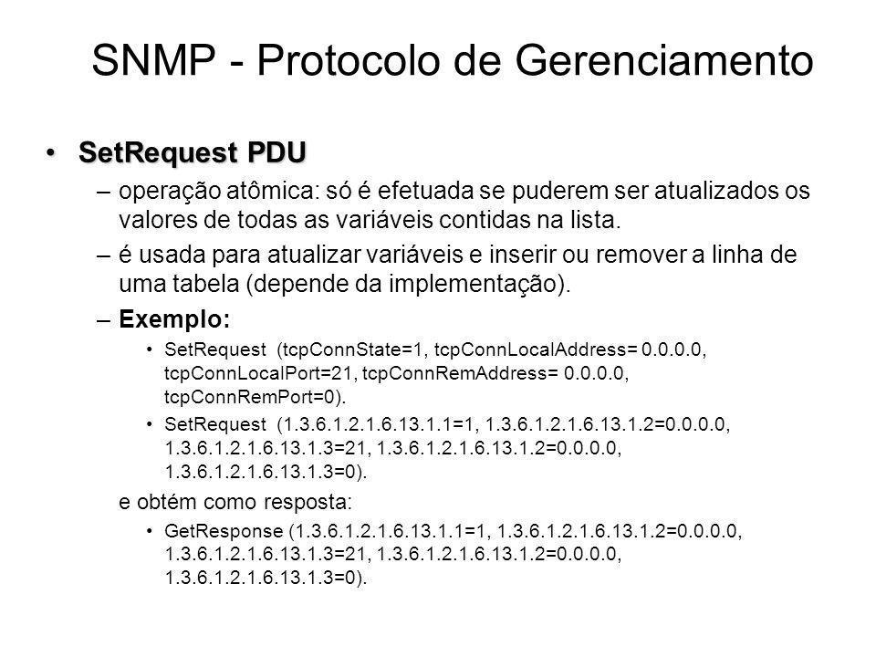 SNMP - Protocolo de Gerenciamento SetRequest PDUSetRequest PDU –operação atômica: só é efetuada se puderem ser atualizados os valores de todas as vari