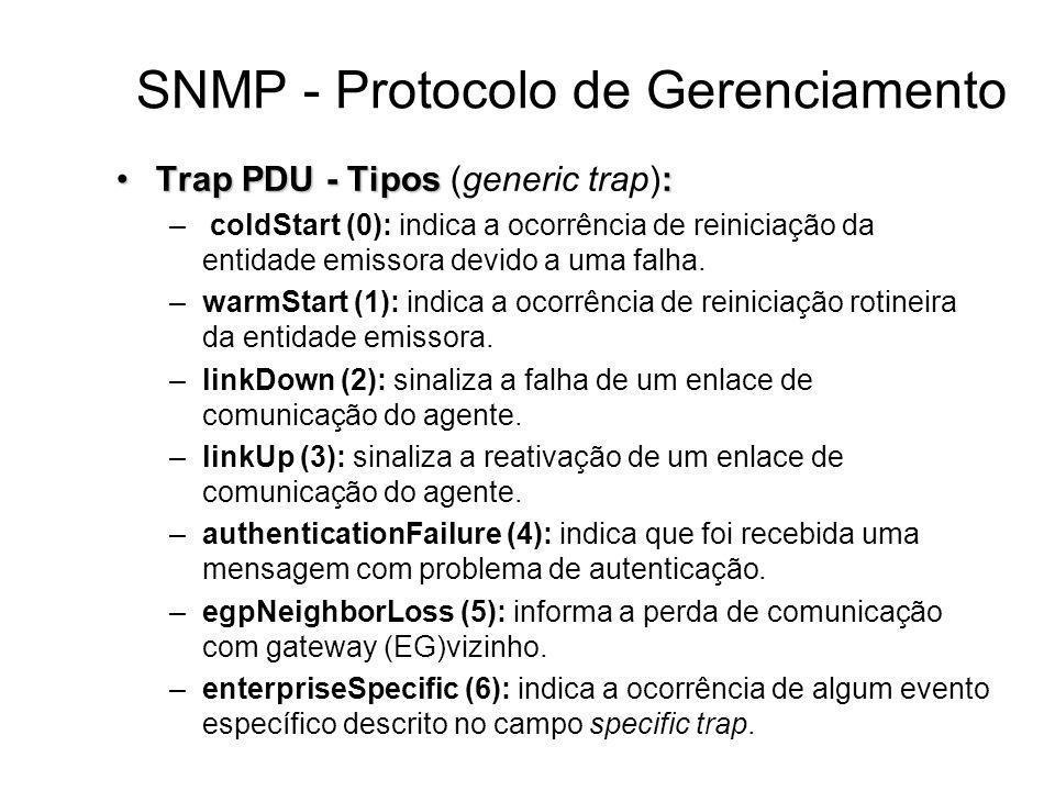 SNMP - Protocolo de Gerenciamento Trap PDU - Tipos:Trap PDU - Tipos (generic trap): – coldStart (0): indica a ocorrência de reiniciação da entidade em