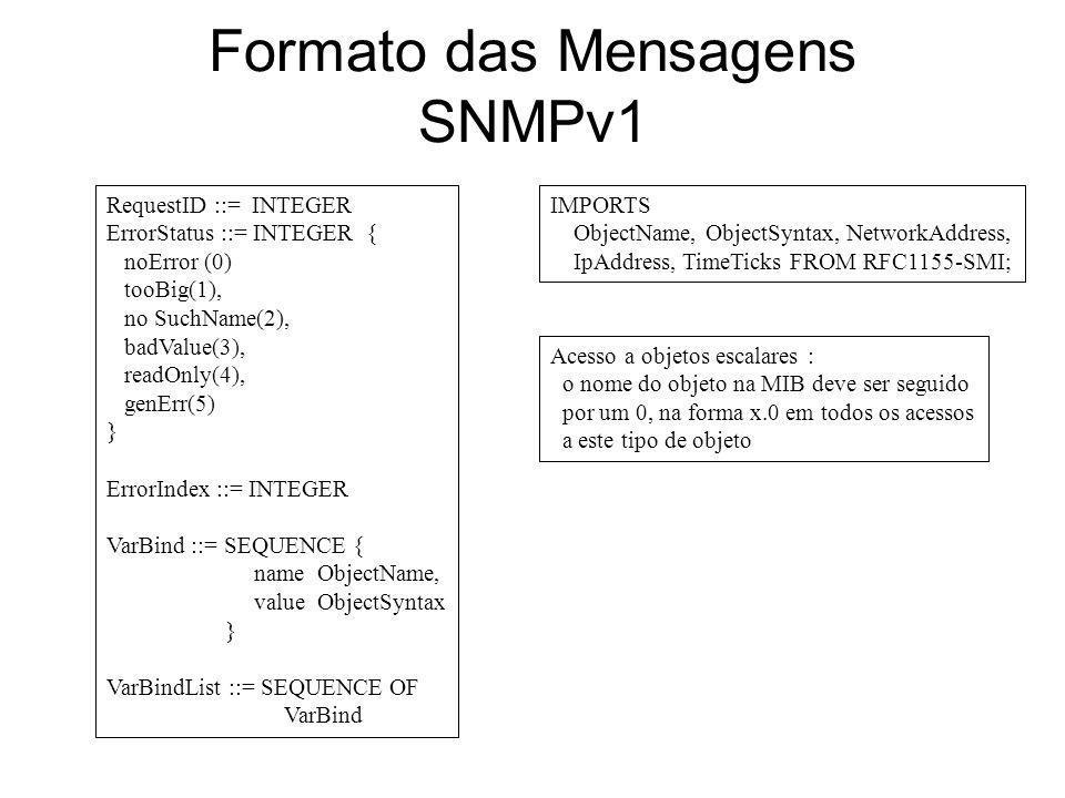 Formato das Mensagens SNMPv1 RequestID ::= INTEGER ErrorStatus ::= INTEGER { noError (0) tooBig(1), no SuchName(2), badValue(3), readOnly(4), genErr(5