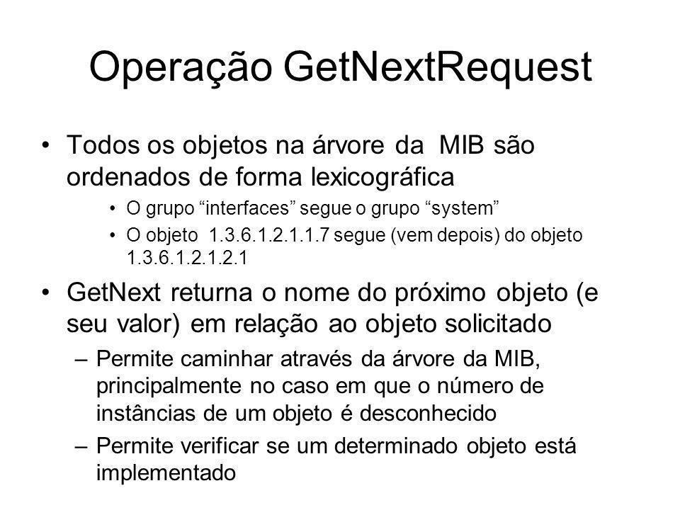 Operação GetNextRequest Todos os objetos na árvore da MIB são ordenados de forma lexicográfica O grupo interfaces segue o grupo system O objeto 1.3.6.