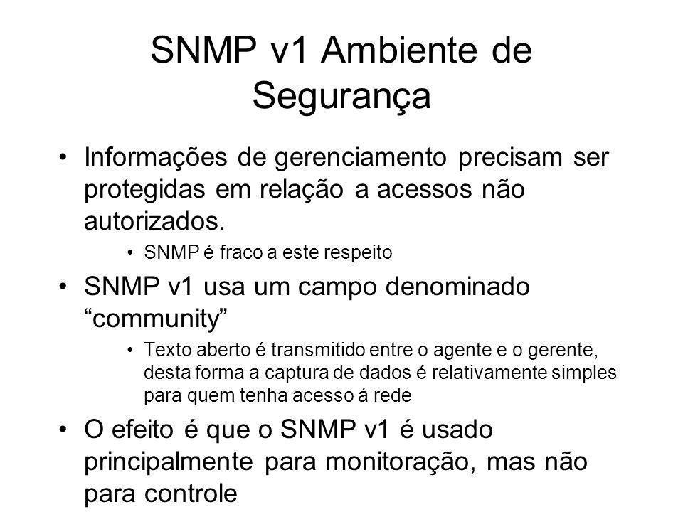 SNMP v1 Ambiente de Segurança Informações de gerenciamento precisam ser protegidas em relação a acessos não autorizados. SNMP é fraco a este respeito