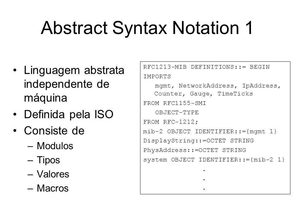 Abstract Syntax Notation 1 Linguagem abstrata independente de máquina Definida pela ISO Consiste de –Modulos –Tipos –Valores –Macros RFC1213-MIB DEFIN