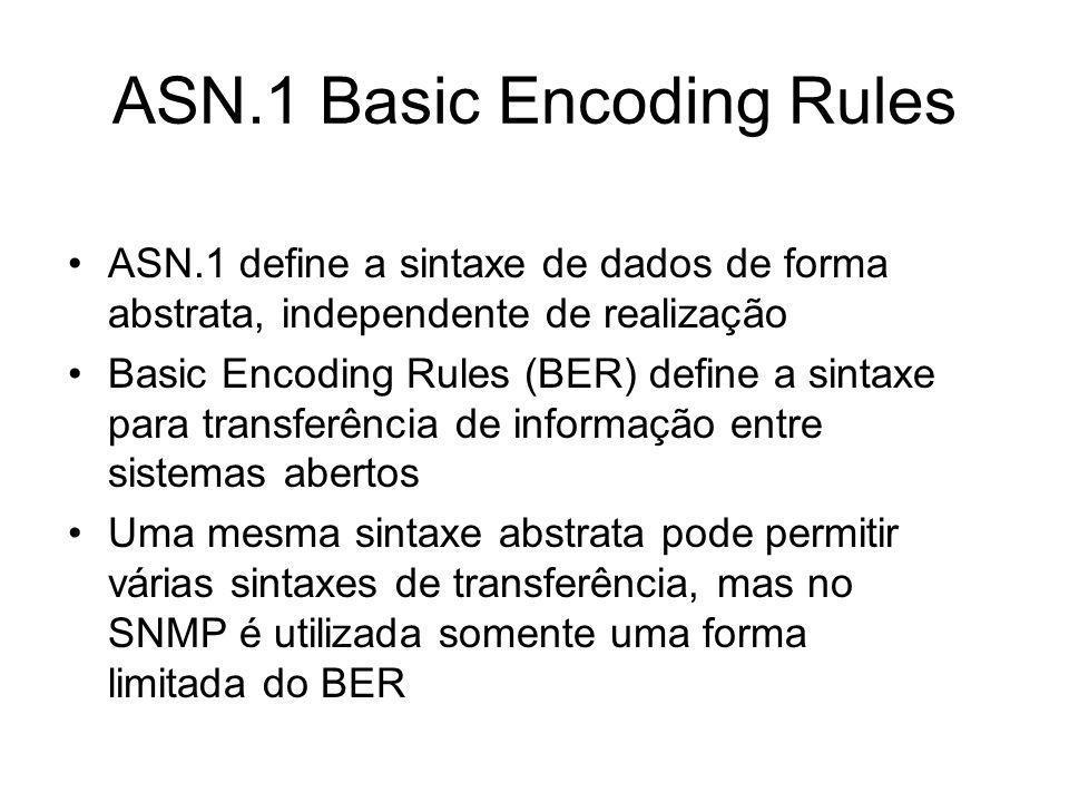 ASN.1 Basic Encoding Rules ASN.1 define a sintaxe de dados de forma abstrata, independente de realização Basic Encoding Rules (BER) define a sintaxe p