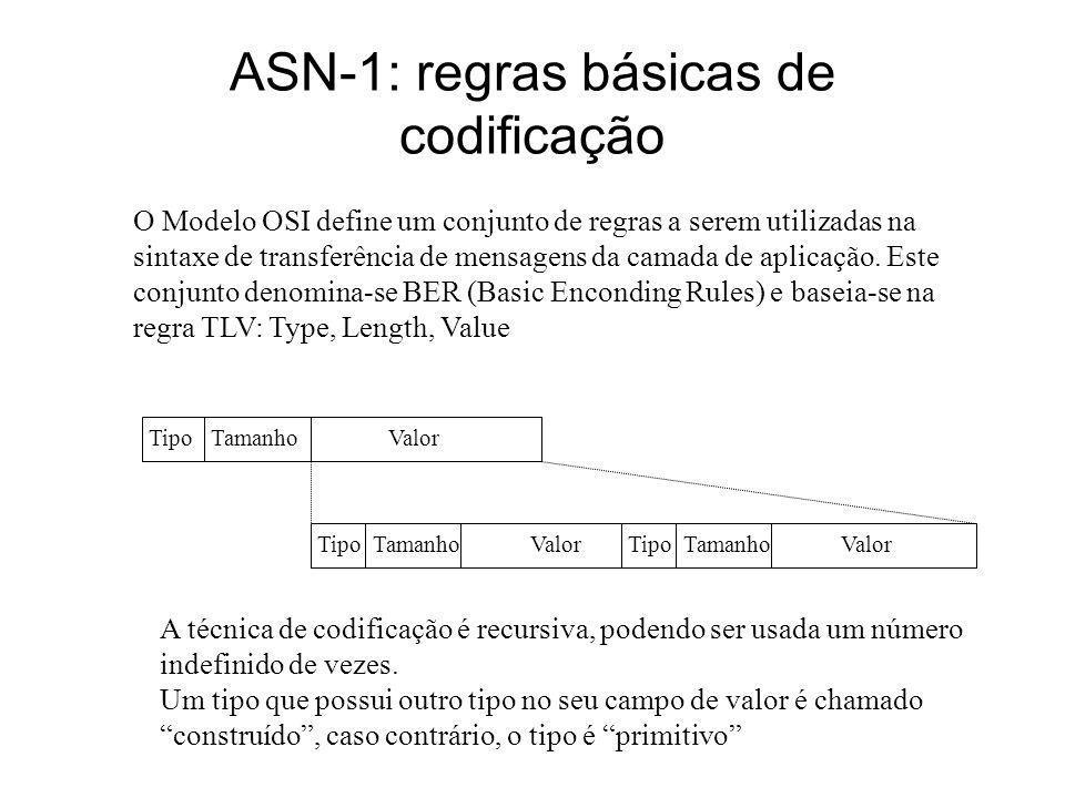 ASN-1: regras básicas de codificação O Modelo OSI define um conjunto de regras a serem utilizadas na sintaxe de transferência de mensagens da camada d