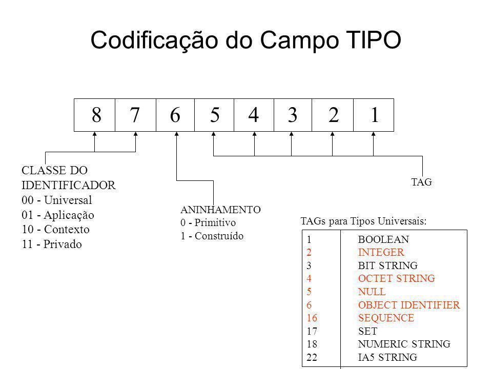Codificação do Campo TIPO 87654321 CLASSE DO IDENTIFICADOR 00 - Universal 01 - Aplicação 10 - Contexto 11 - Privado ANINHAMENTO 0 - Primitivo 1 - Cons