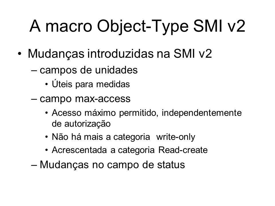 MIBs - Exemplo assocAddress OBJECT-TYPE SYNTAX MacAddress MAX-ACCESS read-only STATUScurrent DESCRIPTION MAC address of a Client associated with the Access Point.