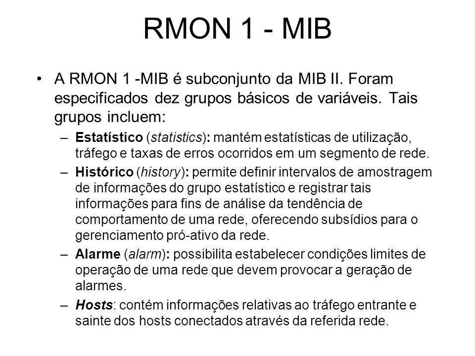RMON 1 - MIB A RMON 1 -MIB é subconjunto da MIB II. Foram especificados dez grupos básicos de variáveis. Tais grupos incluem: –Estatístico (statistics