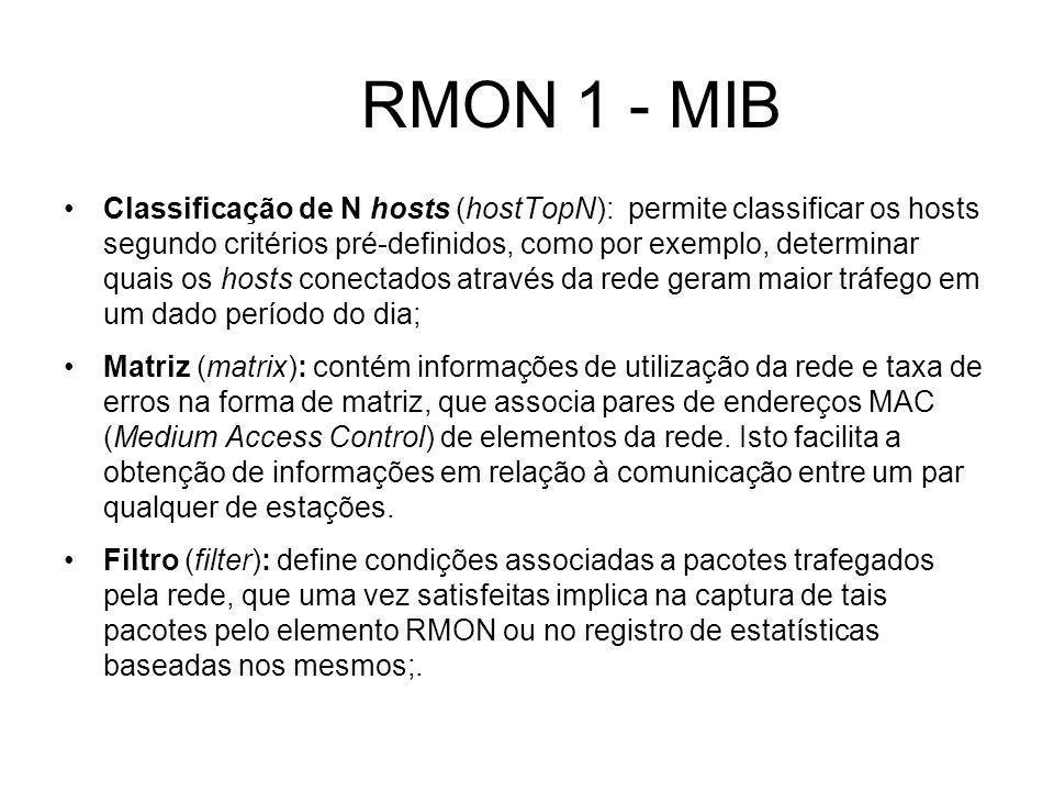 RMON 1 - MIB Classificação de N hosts (hostTopN): permite classificar os hosts segundo critérios pré-definidos, como por exemplo, determinar quais os