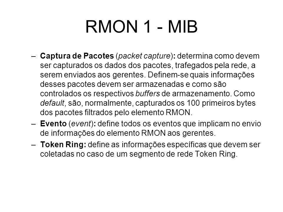 RMON 1 - MIB –Captura de Pacotes (packet capture): determina como devem ser capturados os dados dos pacotes, trafegados pela rede, a serem enviados ao