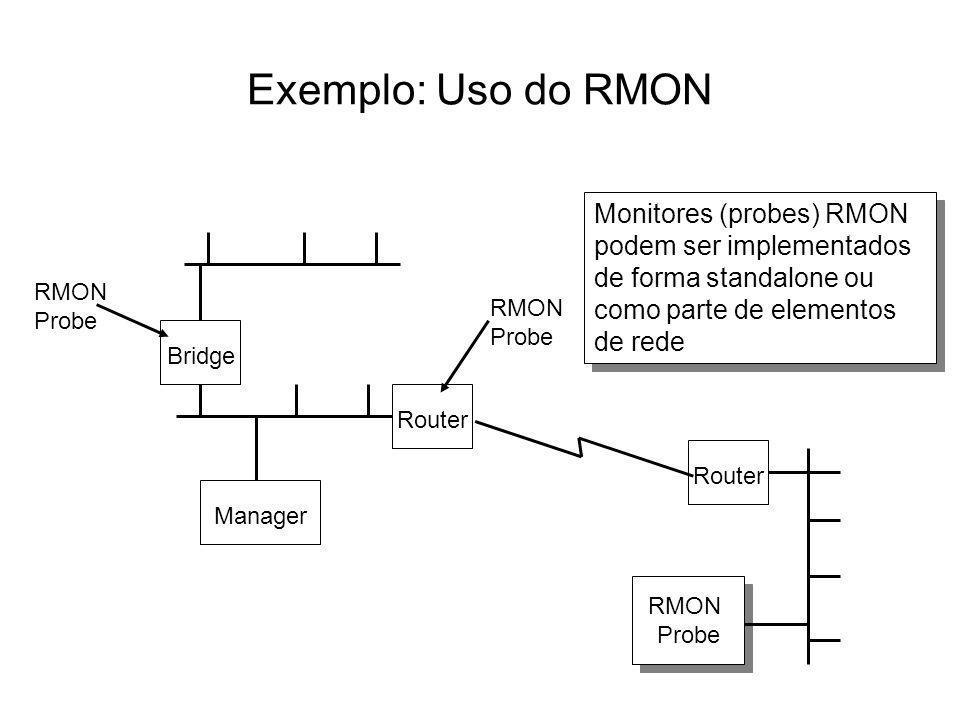 Exemplo: Uso do RMON RMON Probe Router Manager RMON Probe Bridge RMON Probe Monitores (probes) RMON podem ser implementados de forma standalone ou com