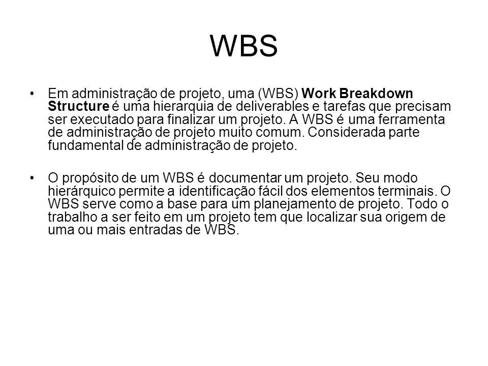 WBS Em administração de projeto, uma (WBS) Work Breakdown Structure é uma hierarquia de deliverables e tarefas que precisam ser executado para finalizar um projeto.