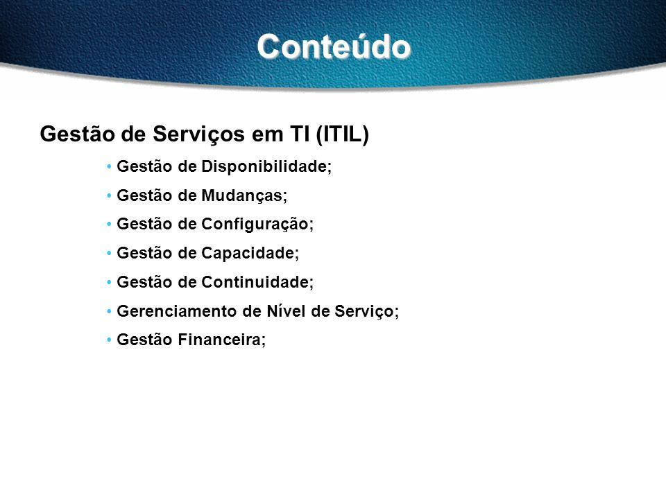 Conteúdo Gestão de Serviços em TI (ITIL) Gestão de Disponibilidade; Gestão de Mudanças; Gestão de Configuração; Gestão de Capacidade; Gestão de Continuidade; Gerenciamento de Nível de Serviço; Gestão Financeira;