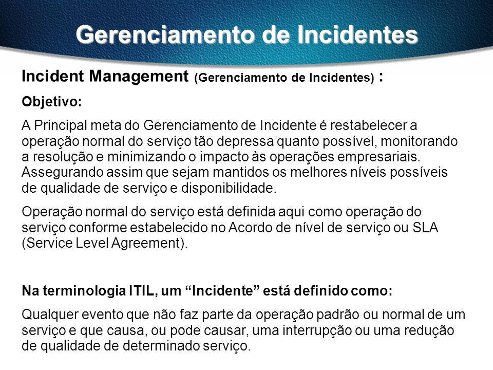 Gerenciamento de Incidentes Incident Management (Gerenciamento de Incidentes) : Objetivo: A Principal meta do Gerenciamento de Incidente é restabelecer a operação normal do serviço tão depressa quanto possível, monitorando a resolução e minimizando o impacto às operações empresariais.