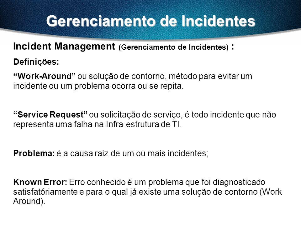 Gerenciamento de Incidentes Incident Management (Gerenciamento de Incidentes) : Definições: Work-Around ou solução de contorno, método para evitar um incidente ou um problema ocorra ou se repita.