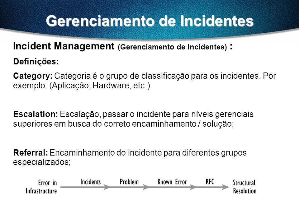 Gerenciamento de Incidentes Incident Management (Gerenciamento de Incidentes) : Definições: Category: Categoria é o grupo de classificação para os incidentes.