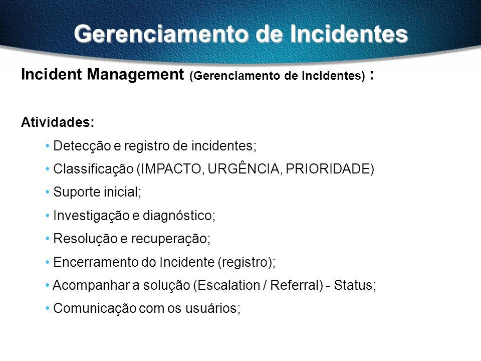 Gerenciamento de Incidentes Incident Management (Gerenciamento de Incidentes) : Atividades: Detecção e registro de incidentes; Classificação (IMPACTO,