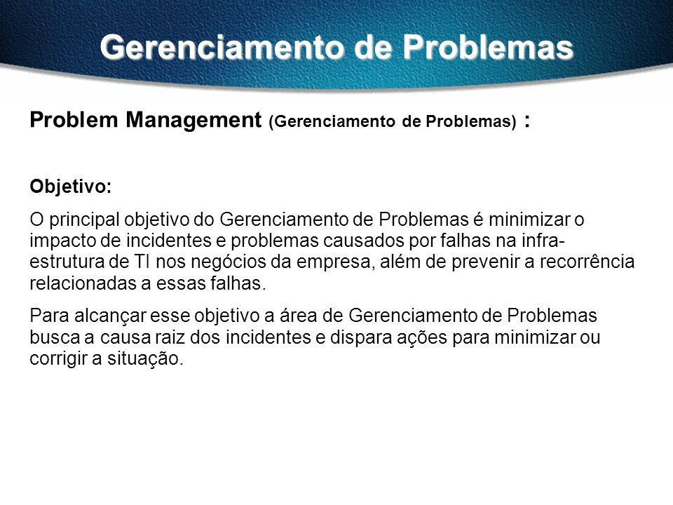 Gerenciamento de Problemas Problem Management (Gerenciamento de Problemas) : Objetivo: O principal objetivo do Gerenciamento de Problemas é minimizar