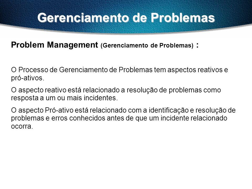 Gerenciamento de Problemas Problem Management (Gerenciamento de Problemas) : O Processo de Gerenciamento de Problemas tem aspectos reativos e pró-ativos.