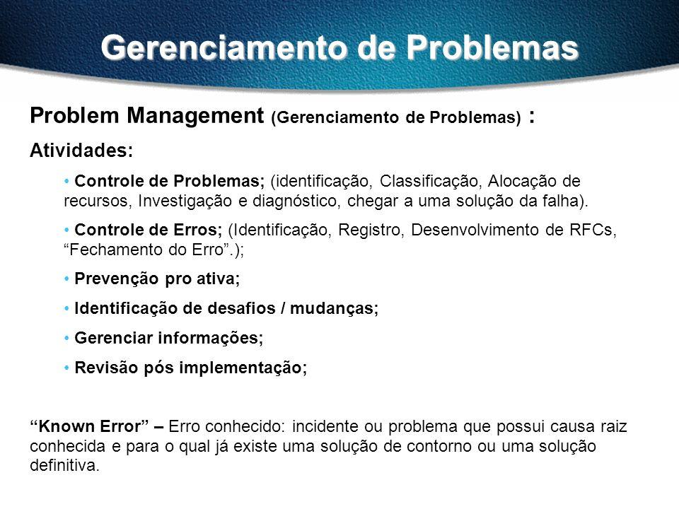 Gerenciamento de Problemas Problem Management (Gerenciamento de Problemas) : Atividades: Controle de Problemas; (identificação, Classificação, Alocação de recursos, Investigação e diagnóstico, chegar a uma solução da falha).