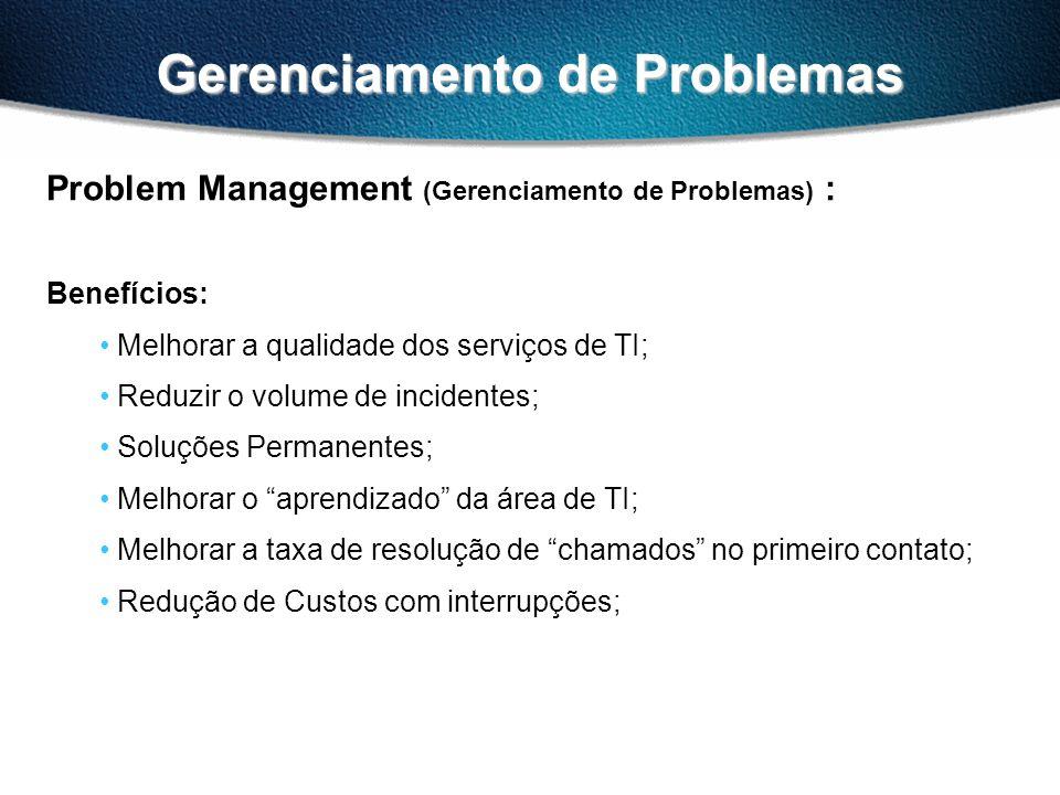 Gerenciamento de Problemas Problem Management (Gerenciamento de Problemas) : Benefícios: Melhorar a qualidade dos serviços de TI; Reduzir o volume de