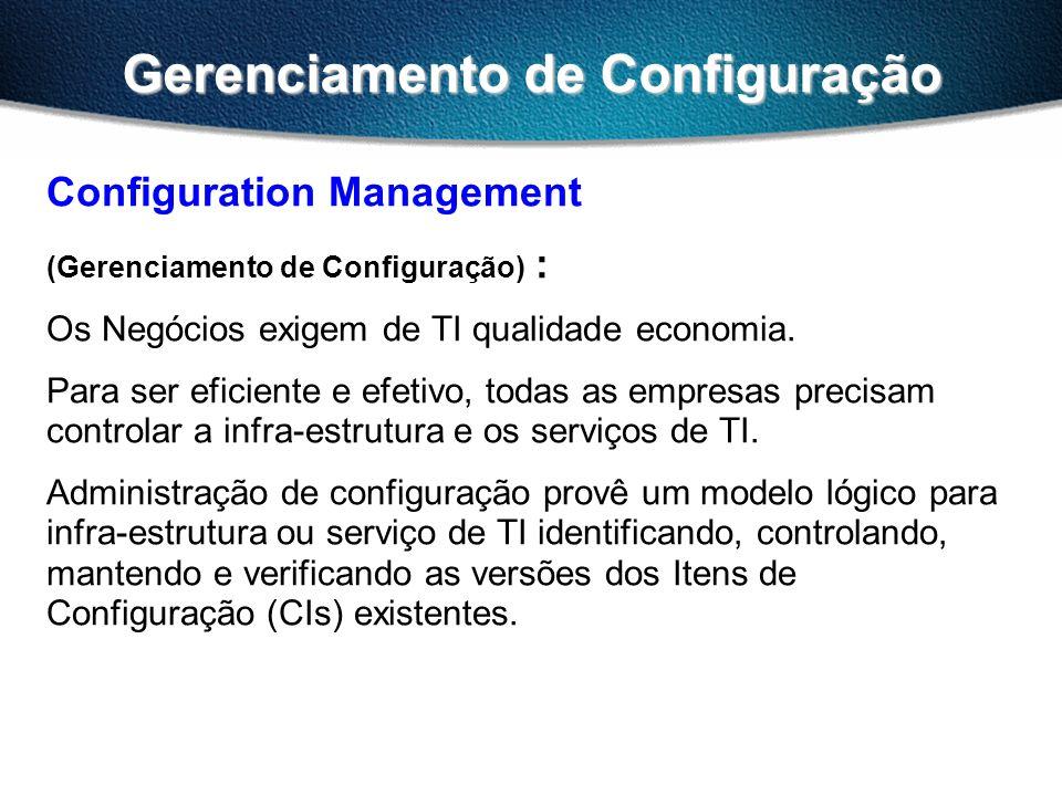 Gerenciamento de Configuração Configuration Management (Gerenciamento de Configuração) : Os Negócios exigem de TI qualidade economia. Para ser eficien