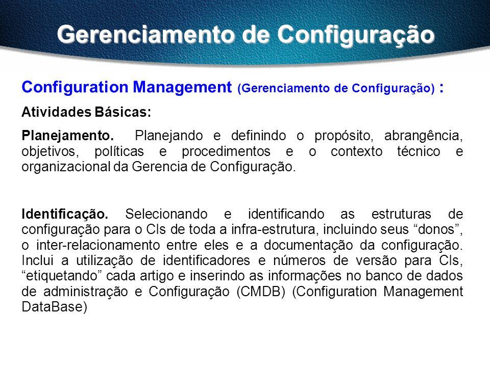 Gerenciamento de Configuração Configuration Management (Gerenciamento de Configuração) : Atividades Básicas: Planejamento. Planejando e definindo o pr