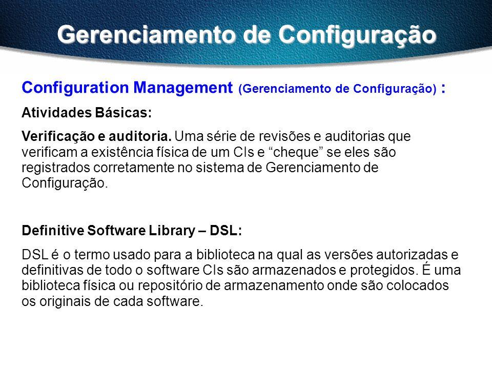 Gerenciamento de Configuração Configuration Management (Gerenciamento de Configuração) : Atividades Básicas: Verificação e auditoria.